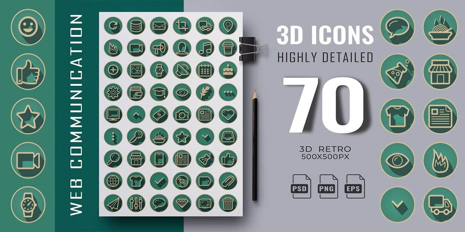 11. 70 3D Retro Web Communication Icons