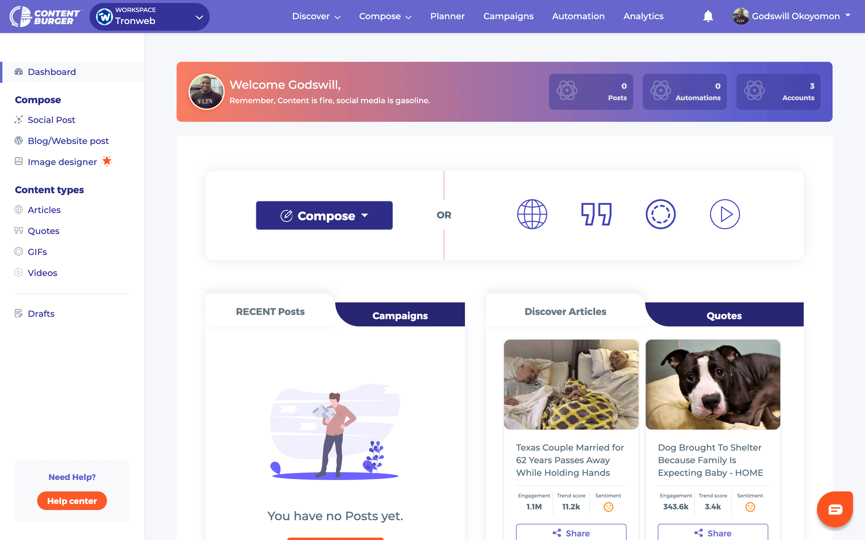 ContentBurger-Dashboard